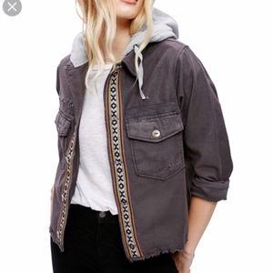 Free People Weekend Wanderer Military Gray Jacket